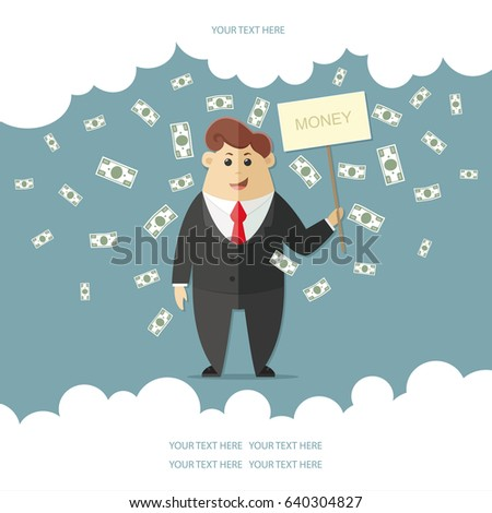 Man in a suit with a red tie getting a lot of money. boss, office worker, manager, banker,  businessman. Flat vector icon, illustration