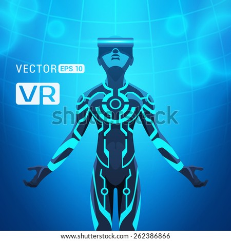 man in a virtual reality helmet