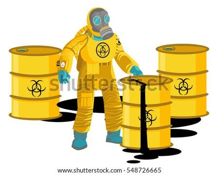 man in biozahard yellow suit near a barrel cans leak