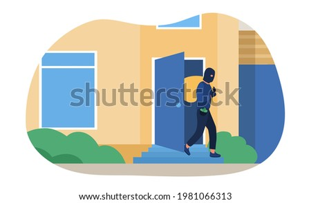 Man in black mask breaking into house and robbing it. Concept of burglar, criminal stealing money and robbing places. Crime scene with burglar holding sack of money. Flat cartoon vector illustration Zdjęcia stock ©