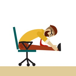 Man in business clothes is doing exercises for back on the office chair. Businessman in healthy forward bend pose. Vector flat  illustration.