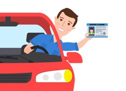 man in car showing a driver license