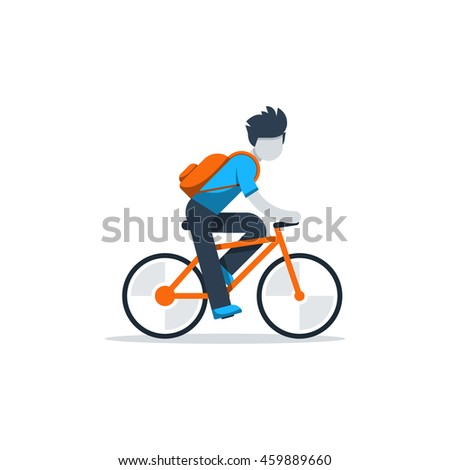 man in casual dress cycling