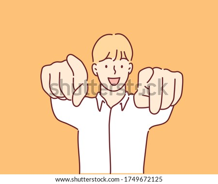 Man in checkered shirt pointing fingers at camera. Hand drawn style vector design illustrations. Foto stock ©