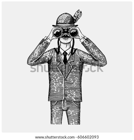Man in costume looking through the binoculars, spyglass vintage old engraved or hand drawn illustration. Hunter, ornithologist, scientist in wood cut or sketch style.