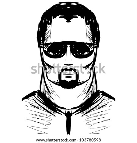 Man in dark glasses. Sketch vector illustration