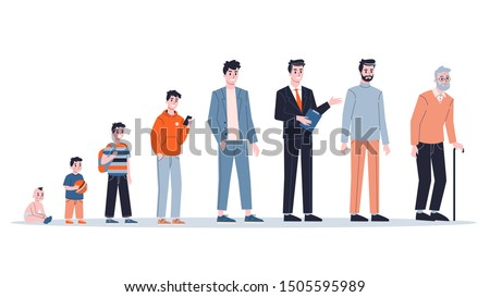 Man in different age. From child to old person. Teenager, adult and baby generation. Aging process. Isolated vector illustration in cartoon style