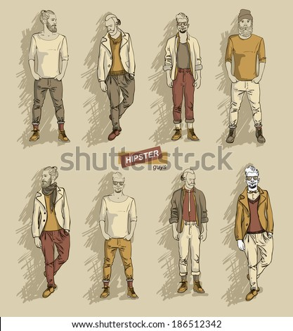 man in fashion clothes isolated on light background set vector illustration eps 10