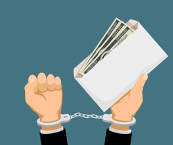 Man in handcuffs holds an envelope with dollar banknotes. Bribery and corruption. Stock vector illustration.
