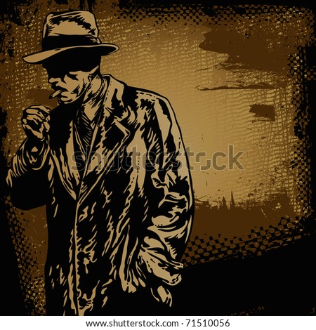 man in hat and retro scratch background, - stock vector