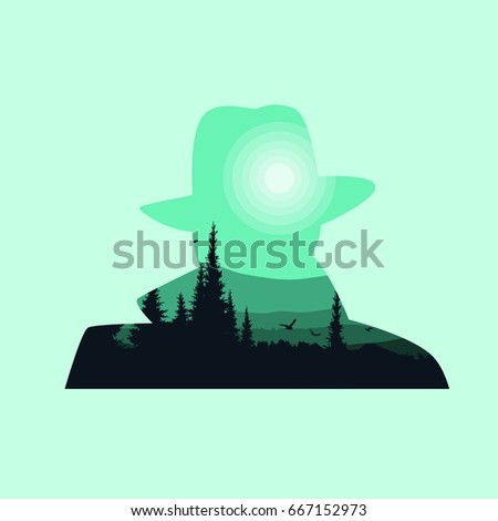 Man in hat silhouette. With the background of the forest.