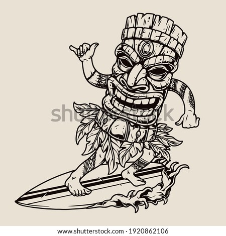 Man in hawaiian tiki mask surfing wave and showing shaka gesture in vintage monochrome style isolated vector illustration