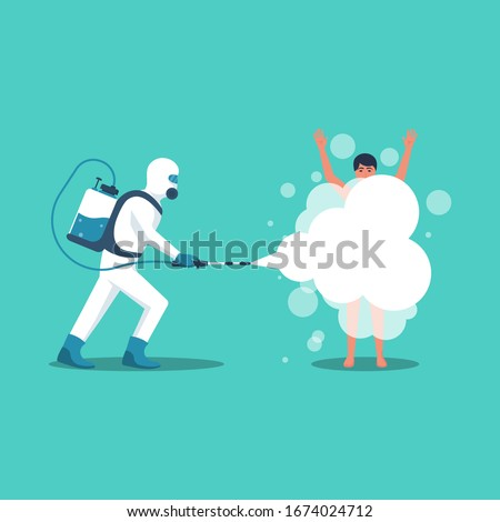 Man in hazmat and protective suit disinfects an infected person from coronavirus 2019-ncov. Vector illustration flat design. Cleansing the body of dirt. Spraying a soapy solution. Shower daily.