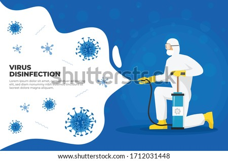 Man in hazmat suit cleaning and disinfecting coronavirus cells. Disinfection Mers-CoV, 2019-nCoV, COVID-19 viruses. Protection concept from pandemic and epidemic or any health risk. Disinfecting bacte