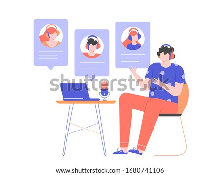 Man in headphones at home or in the office at a desk with a laptop and a microphone. Communication with the team via video online, urgent meeting, remote work, freelance. Vector flat illustration.