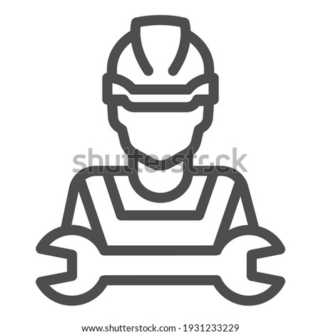 man in helmet and wrench line