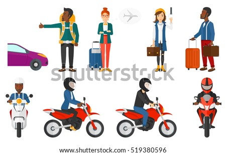 Man in helmet riding a motorcycle. Woman driving a motorbike. Hitchhiking man trying to stop a car. Man with backpack hitchhiking. Set of vector flat design illustrations isolated on white background.