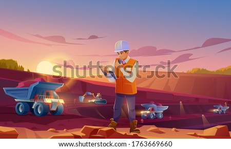 Man in helmet working on mining quarry. Opencast mine with dumpers, excavator and workers. Vector cartoon illustration of ore extraction open cast and engineer