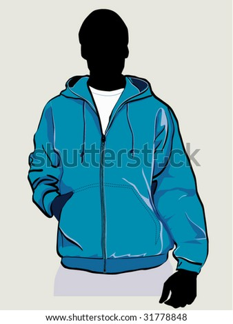 Man in hooded sweatshirt with zipper