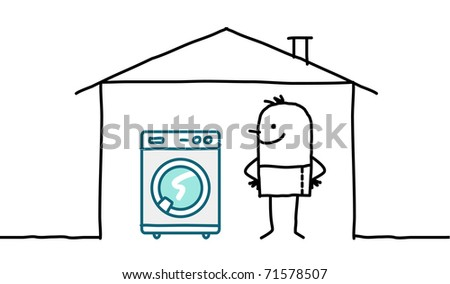 man in house & washing machine - stock vector