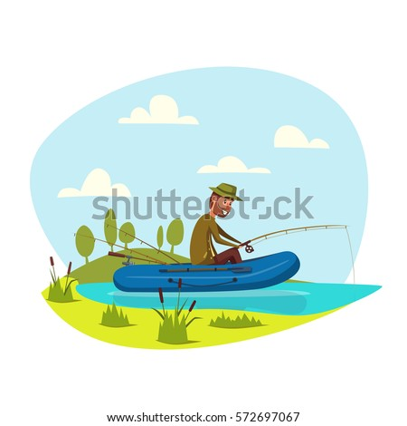 Man in inflatable boat fishing on lake or river with fish rod. Fisherman sport outdoor recreation leisure or nature weekend adventure. Vector happy fisher man with beard waiting for nibble and catch