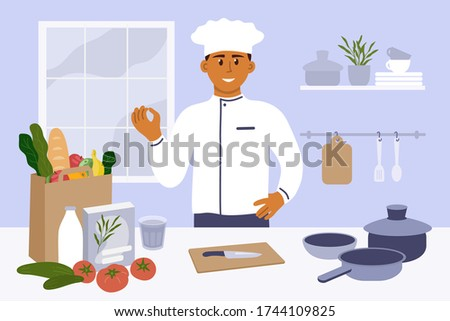 Man in kitchen preparing to cooking homemade meal. Young chef in uniform showing gesture delicious. Vegetable, knife, utensils, pack with food on table. Vector illustration for culinary blog, classes Stock photo ©