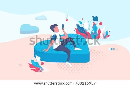 man in love sending phone