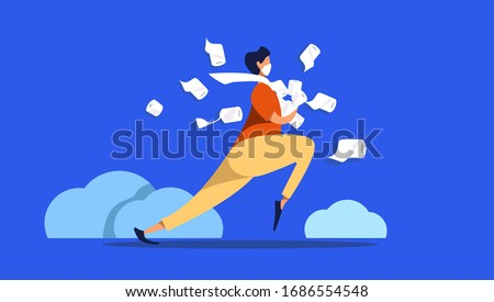 Man in medical mask in panic shopping in a supermaket grabs toilet paper in bulk due to coronavirus crisis. covid-19  pandemic concept. flat vector illustration. man with toilet paper running