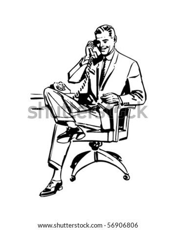 Man In Office Chair - Retro Clip Art