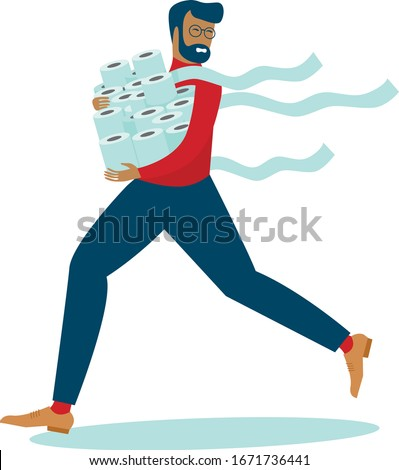 Man in panic shopping in a supermaket grabs toilet paper in bulk due to coronavirus crisis. covid-19  pandemic concept. flat vector illustration