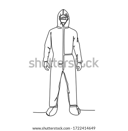 Man in protective suit from front view - Continuous single line hand drawing vector illustration