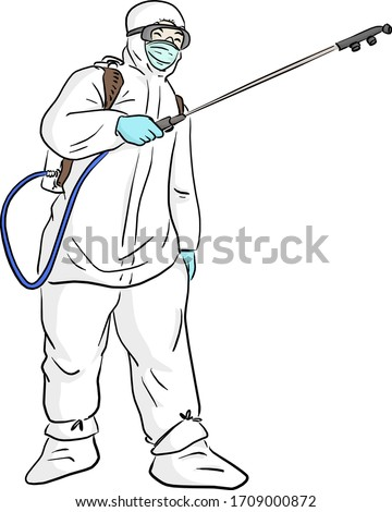 man in protective suit spraying disinfectant to cleaning and disinfect Covid-19 virus vector illustration sketch doodle hand drawn isolated on white background