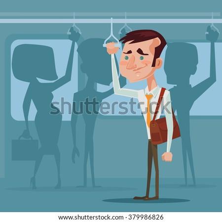 man in public transport vector