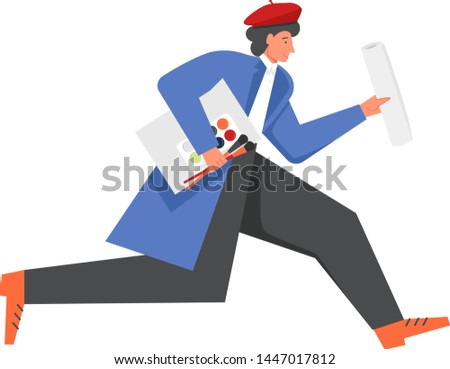 Man in red beret artist running with paints, paintbrush. Vector flat illustration isolated on white background. Painting art creation, artistic creative occupation concept for web banner, website page