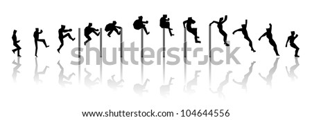 man in sequence jumping of a