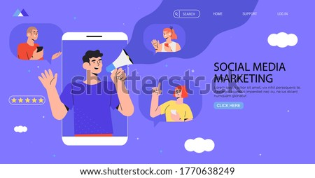 Man in smartphone shouting in loud speaker. Influencer or social marketing banner, flyer, web page. Social media account promotion, audience or followers growth. People hold mobile phones and chat.