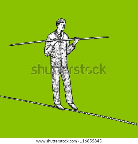 Man in suit balances on the rope - stock vector
