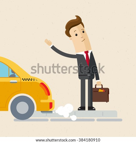 man in suit catch a taxi
