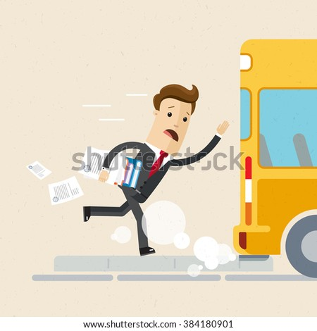 Man in suit is late for work or a meeting. Employee is running for a outgoing bus. Illustration, vector EPS 10