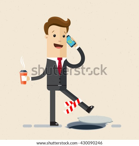 Man in suit is walking on road and talking on a cell phone, he does not notice the road works and could fall.  manager or office employee   goes to work with coffee in his hand. Vector, flat