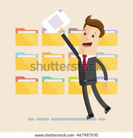 Man in suit, manager or employee, is folding and sorting documents or letters into folders. Vector, illustration, flat Foto stock ©