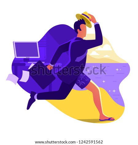 Man in suit running from office to the beach. Escape from office work. Going on vacation. Businessman with briefcase run to the sea. Weekend in a tropical country. Flat vector illustration.