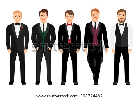 Man in suit set vector illustration. Fashion cartoon elegant business characters isolated on white background