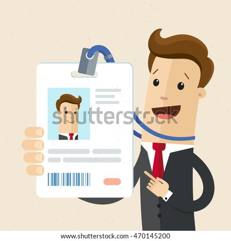 Man in suit  shows his tag badge.Vector, illustration, flat