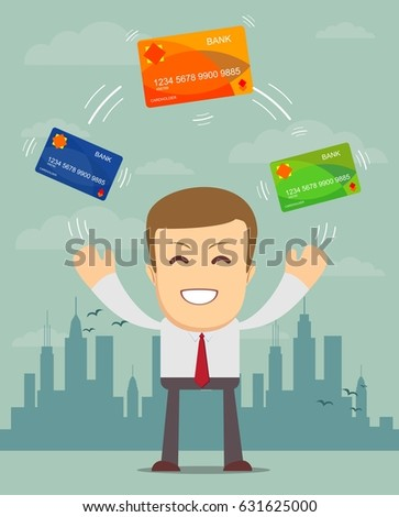 Shutterstock Man in suit shows plastic cards. Bank selection concept, conditions of deposits and credits. Vector, illustration, flat