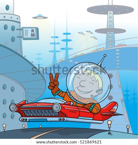 man in the flying car in the