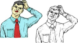 Man in tie scratching his head in puzzlement. Hand drawn vector illustration.