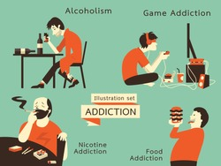 Man in unhealthy addcition lifestyle, acoholism, nicotine addiction, game and food addiction. Vector illustration in vintage style.