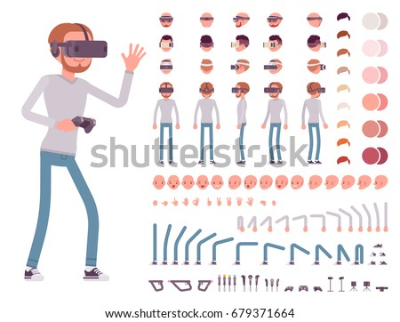Man in Virtual Reality headset. VR helmet. Character creation set. Full length, different views, emotions and gestures. Build your own design. Cartoon flat-style infographic illustration