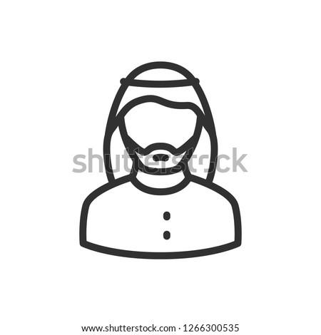 man in wearing a keffiyeh. linear icon. Line with editable stroke